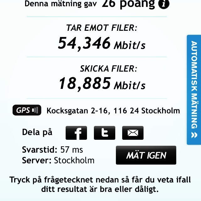 Not bad for à mobile network. iPhone 5S Stockholm 4G speed