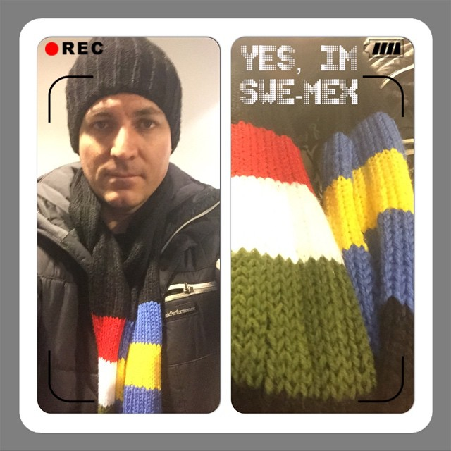 My Mom is keeping me warm :)In My colors. :) swedish - mexican! Thanks mom