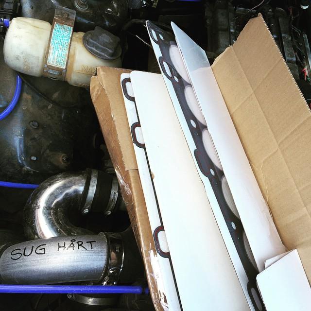 självklart dök man väl upp lagom till Byte av topplockspackning !  Sedan blir det till att montera ny WG! Och ut o Mappa igen.