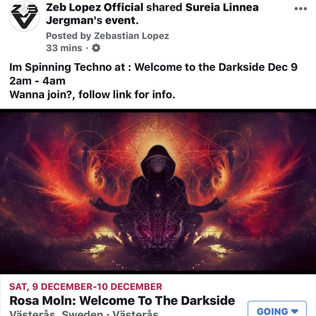 Spinning Techno  next weekend! 2am- 4am  at Welcome to the darkside!! VASTERAS , Sweden!  @djzebofficial @technohearts @technohearts_records @bokaljud.nu